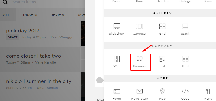 squarespace related summary block carousel
